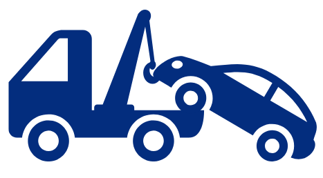 car being towed icon