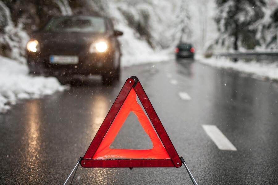 Hazard sign stuck car