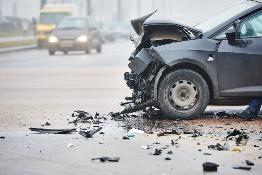 electric car with severe damage