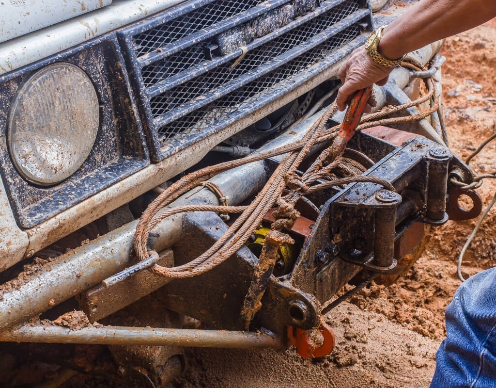 using winch to get truck out of mud